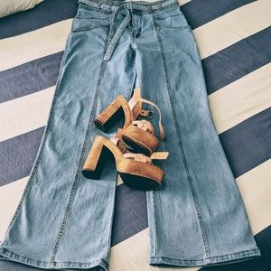 Belted High Waisted Bell-bottom Jeans